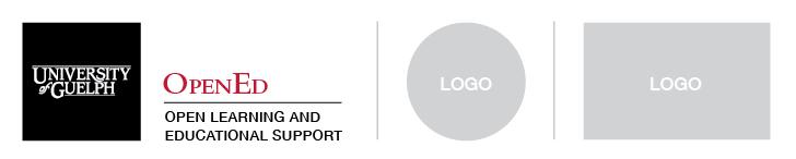 U of G Cornerstone beside multiple logos seperated by grey lines