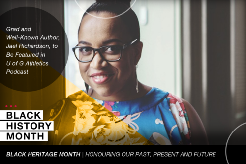 Geaphic shows Jael Richardson and the words Black History Month, Black Heritage Month