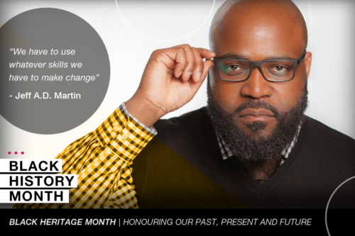 A graphic of Jeff Martin with the words Black History Month
