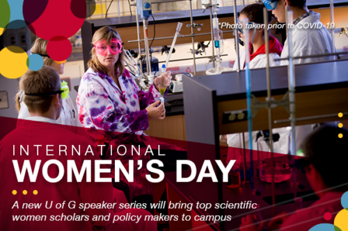 Graphic shows a woman in a lab coat and goggles holding a beaker among students. Test reads International Women's Day