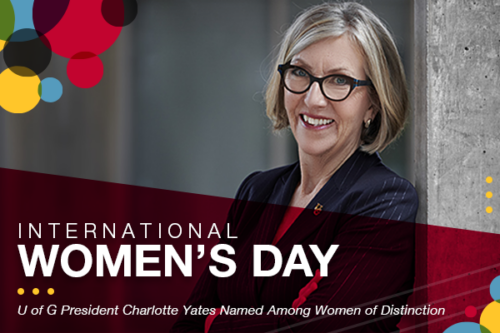 A photo of president Charlotte Yates. Text reads: International Women's Day